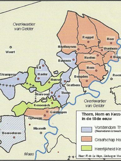Kaart Thorn Horn en Kessenich in de 18e eeuw